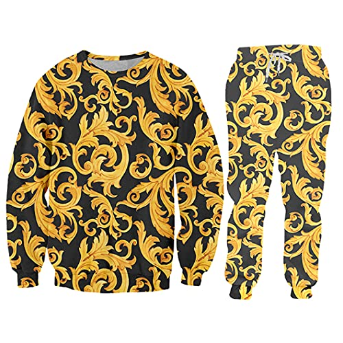 Sudadera Sudadera con Capucha y Jogger Pantalones Set de Hombres Estampado 3D Flor de Oro 2 PCS Trajes SWPA61109 4XL