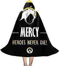 SEDSWQ Mercy Heroes Never Die Ov-erwatch Unisex Kids Hooded Cloak Cape Halloween Xmas Party Decoration Role Cosplay Costumes Black