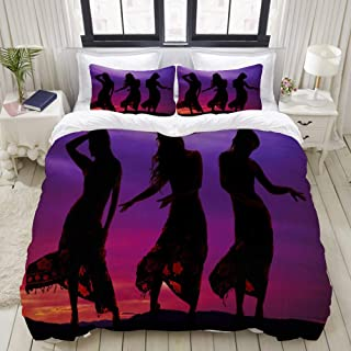 """Mokale Bedding Duvet Cover 3 Piece Set - Silhouette of Woman in Bikini - Decorative Hotel Dorm Comforter Cover with 2 Pollow Shams - Queen 90""""x90"""""""
