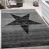 Paco Home Alfombra De Diseño con Estampado Moderno De Estrella De Velour Corto Mezclada En Gris Y Negro,...