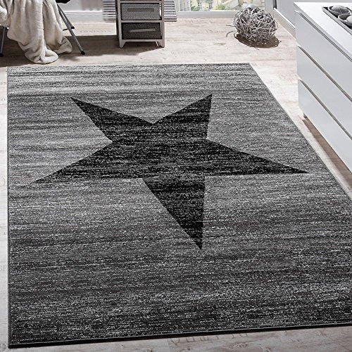 Paco Home Wohnzimmer Teppich Mit Stern Muster, Moderner Kinder- und Jugendzimmer Kurzflor, Grösse:60x100 cm, Farbe:Grau
