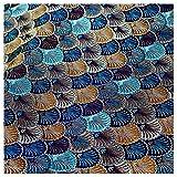 Brokat Satin Stoff Blau Muschel Muster Japanischer Stil