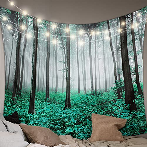 MUSEDAY Wall Hanging Bedding Tapestry Autumn Scare Green Maple Leaf Forest with Mystic Misty Tapestry Wall Decor Blanket Bedspread Picnic Sheet Room Dorm Home Decor- 59''x90''