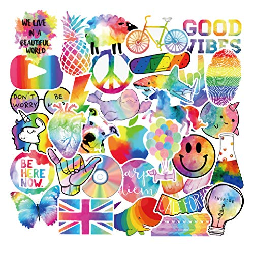 Colorful Rainbow Sticker Pack of 50 Stickers Rainbow Decals for Laptops Hydro Flasks Water Bottles Luggage