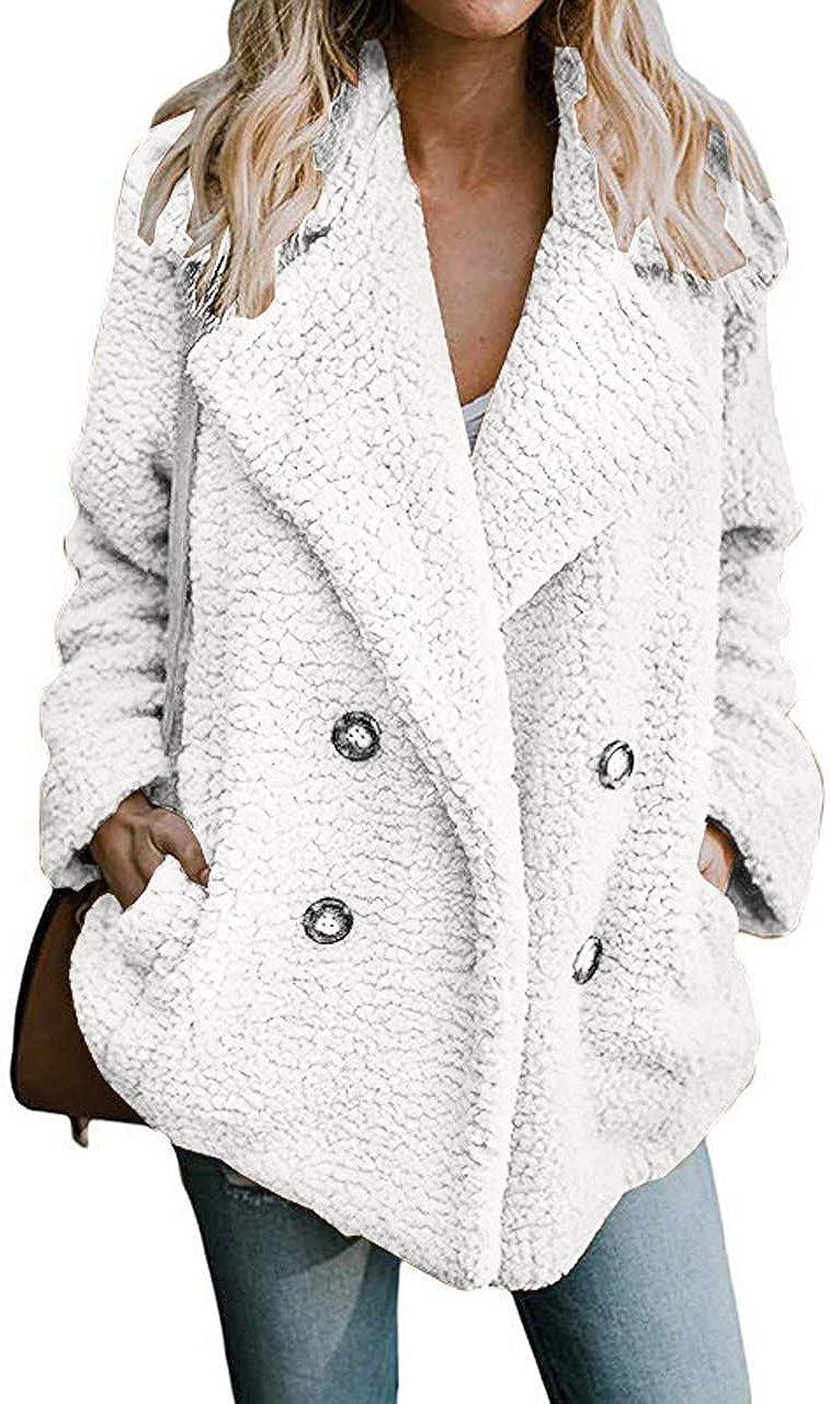 Women Elegant Coat Open Front Button Lapels Pocket Outerwear Plus Size Fleece Casual Winter Cardigan Jacket