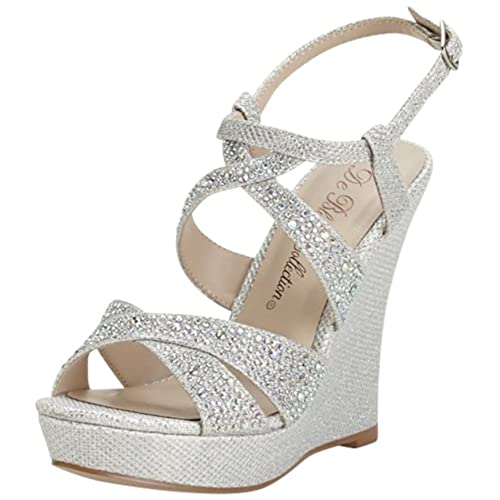 98ca1021d11c David s Bridal High Heel Wedge Sandal with Crystal Embellishment Style  BALLE8