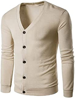Howely Mens V-Neck Solid Color Cardigan Hipster Knit Pullover Top Blouse