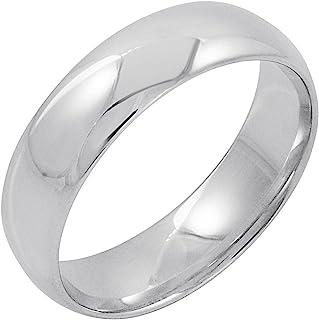 da01cc281cc84 Men's 14K White Gold 6mm Comfort Fit Plain Wedding Band (Available Ring  Sizes 8-