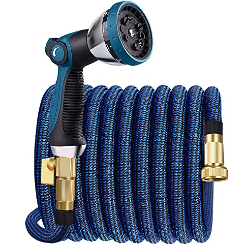 Expandable Garden Hose 100ft Water Hose with 10 Function Nozzle, Leakproof Expanding Flexible Outdoor Yard Hose with Solid Brass Fittings, Extra Strength 3750D Durable Car Wash Hose Pipe (100FT)