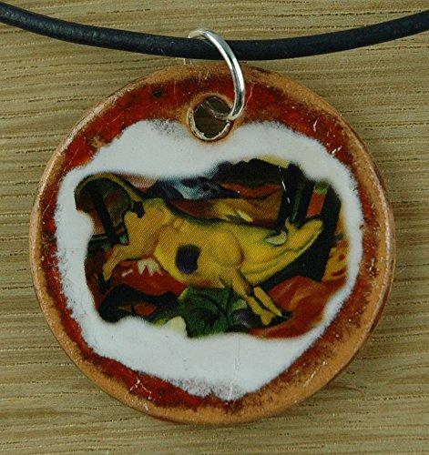 Echtes Kunsthandwerk: Hübscher Keramik Anhänger nachempfunden Gelbe Kuh von Franz Marc ; Künstler, Maler, Expressionismus, Gemälde, Kunstdruck