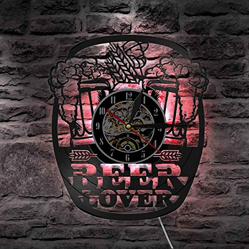 Taza espuma cerveza hombre cueva pub bar vinilo registro relojes de pared función luz nocturna, decoración de arte colgante de pared 12 pulgadas Lp regalo hecho a mano