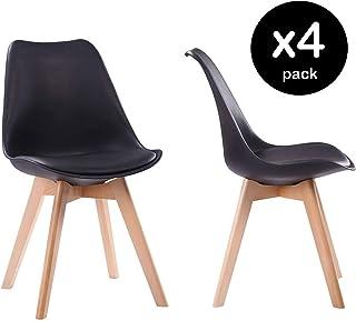 Beneffito SENJA - Conjunto de 4 sillas escandinavas con Cojines de Asiento y Patas de Madera Maciza - Negras