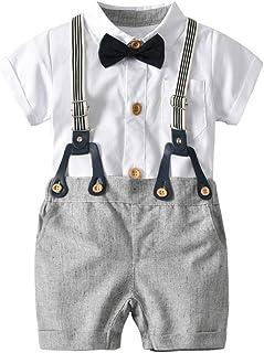 9036973c6ba73 Bonjouree Salopettes et T-Shirt Bebe Garçon Chemise Manches Courtes de  Noeud Papillon et Shorts