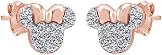 Sparkling White Cubic Zirconia Minnie Mouse Stud Earrings In 14K Gold Over Sterling Silver