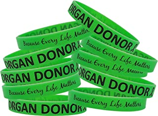 Fight Like a Girl Organ Donor Silicone Wristband Bracelets, Individually Packaged, 10-Pack