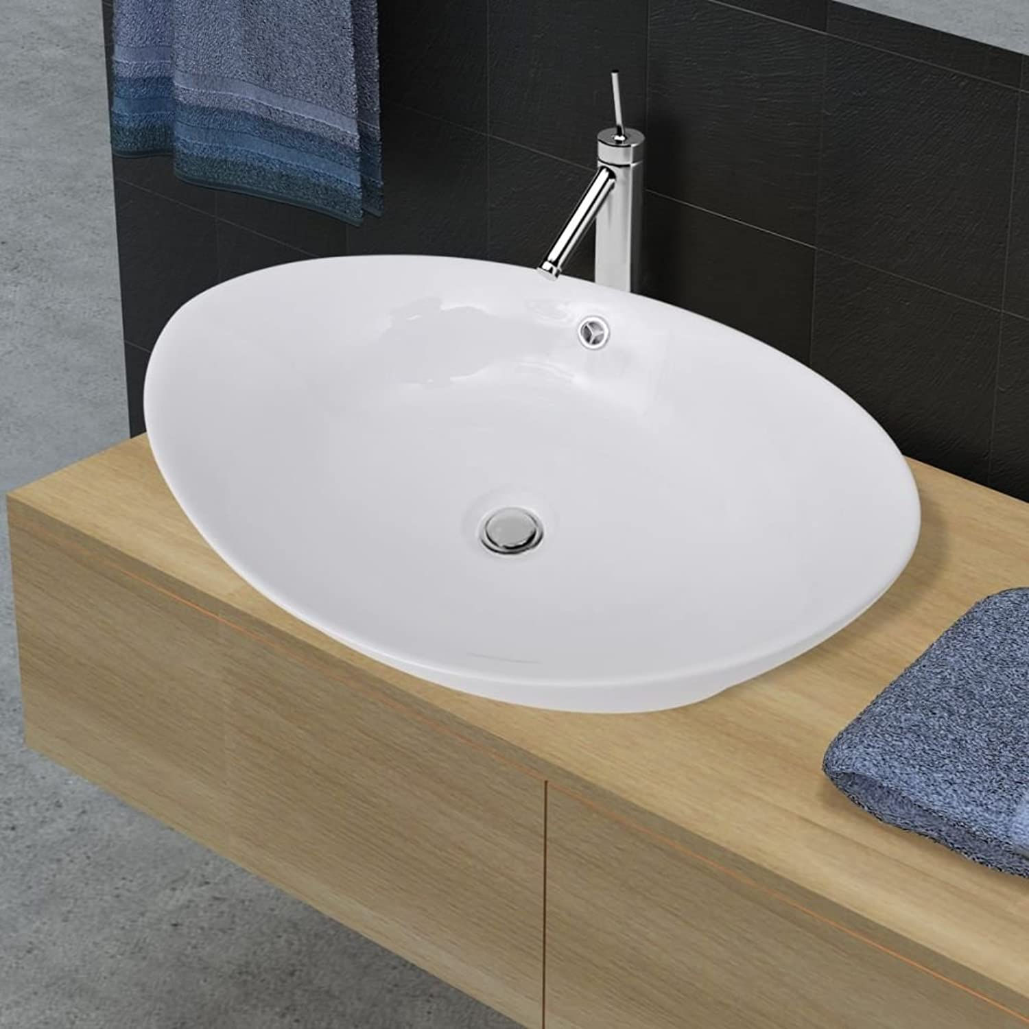 Oval Ceramic Basin Sink With Overflow 59?x 38.5?cm