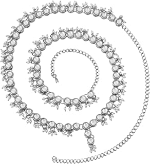 Peora Traditional Jewellery Silver Plated White Kundan Baby Pearl Waist Belt Kamarband Belly Chain for Women Girls