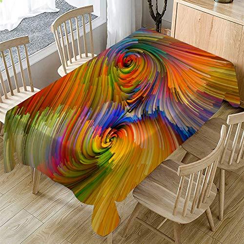 YUNSW Rechteckige Regenbogentischdecke aus Polyester, Küchencafé Gartenpicknick-Partytischdecke, Anti-Falten-, atmungsaktiv, wärmeisolierend, Antifouling- und ölbeständige Tischdecke