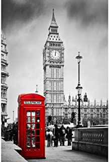 Pitaara Box Red Telephone Booth & Big Ben In London England Uk D2 Peel & Stick Vinyl Wall Sticker 24 X 36Inch