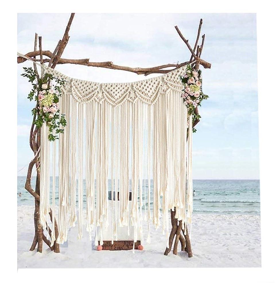 衝突する褒賞分布綿ロープ手作り編みの結婚式の背景には、壁のストラップを飾ります。長89センチ * 107センチ