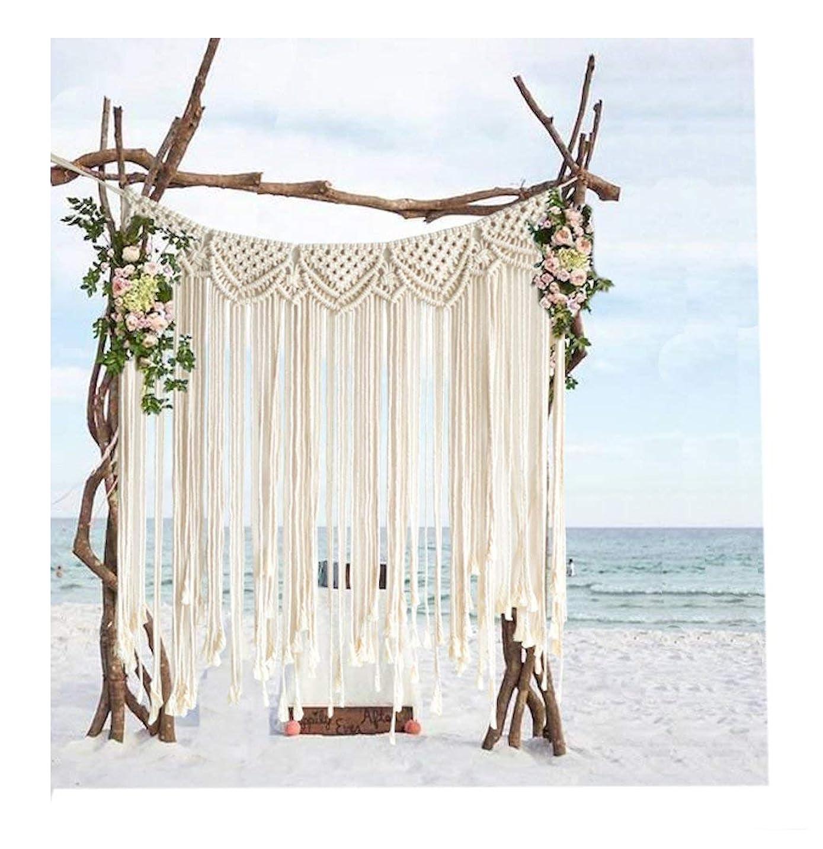 求める分解する養う綿ロープ手作り編みの結婚式の背景には、壁のストラップを飾ります。長89センチ * 107センチ