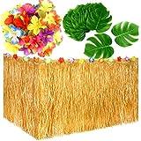 KUUQA Luau Hawaiian Grass Table Skirt and 48 Pcs Artificial Tropical Palm Monstera Leaves Hibiscus Flowers for Aloha Tiki Jungle Moana Theme Tropical Birthday Party Decorations Ideas Supplies
