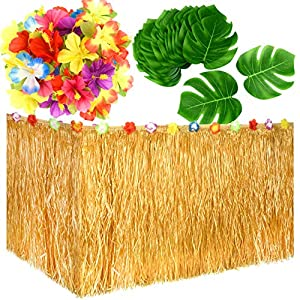 KUUQA Luau Hawaiian Grass Table Skirt and 48 Pcs Artificial Tropical Palm Monstera Leaves Hibiscus Flowers for Aloha Tiki Jungle Moana Theme Tropical Birthday Party Decorations Ideas Supplies