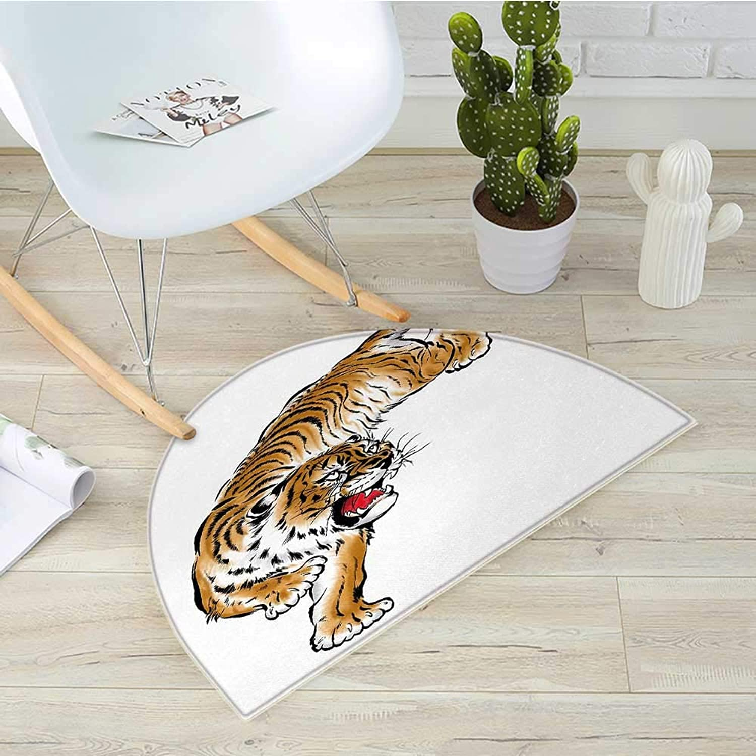 Tiger Semicircle Doormat Japanese Inspired Large Feline Japanesque Design Free Hand Drawing Traditional Halfmoon doormats H 39.3  xD 59  Black Pale Brown