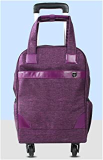 GLJJQMY Travel Bag Backpack Men and Women Travel Waterproof Oxford Budden Chassis Business Pull Xuan Backpack Universal Wheel Trolley Backpack (Color : Purple)
