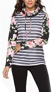 Howely Women's Stylish Printing Piles Collar Stripe Knit Tunic Top Shirts