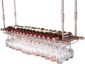 FLTRADE 2 Filas Bronce Retro Soporte de vidrio Estantes para vinos Acero inoxidable 28 cm Riel de vidrio Portavasos de vino Estante Estantes para tazas Soporte para racks con tornillos Barra de cocina