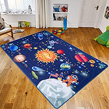 Vaukki Kids Rug for Playroom Educational Learning Carpet Fun Rug Outer Space Rug Solar System Non Slip Washable Blue Children Area Carpet for Bedroom Playroom and Nursery  3.3 x5  Blue