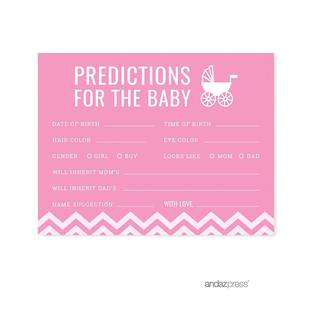 Andaz Press Pink Chevron Girl Baby Shower Collection, Games, Activities, Decorations, Predictions for Baby Cards, 20-Pack lyehbwpivtw05
