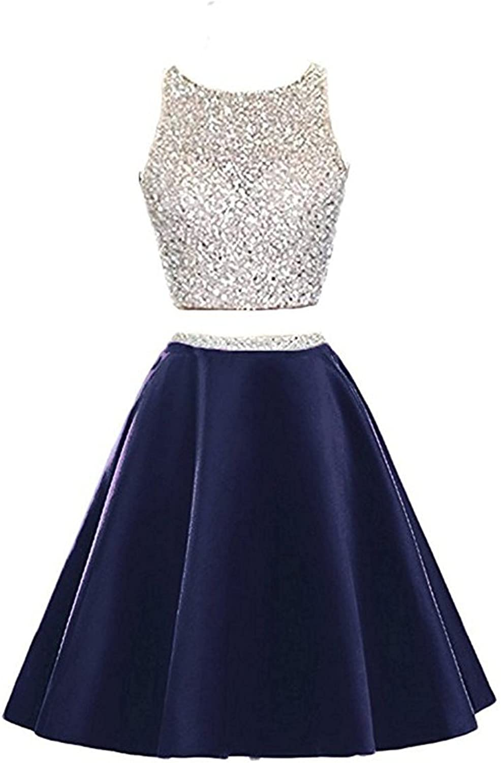Sound of blossoming Two Pieces Homecoming Dress Beaded Short Prom Dress