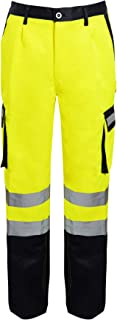 shelikes Mens Hi Vis Viz Combat Bottoms Safety Cargo Highways Railwa Workwear Trousers Pants