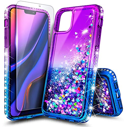 NZND Case for iPhone 12 Mini (5.4 inch, 2020) with Tempered Glass Screen Protector, Sparkle Glitter Flowing Liquid Quicksand with Shiny Bling Diamond, Women Girls Cute Phone Case Cover (Purple/Blue)