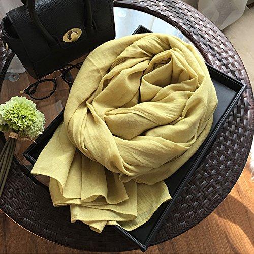 BAGEHUAN Baumwolle und Leinen Schals weiblichen Winter Dunkelblau Farbe Schal mit doppeltem Große Frühjahr und Herbst Lange Schal Wild Schal, Kurkuma
