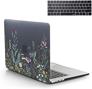 13 Inch MacBook Pro Case 2019 2018 2017 2016 Release A1989 A1706 A1708 A2159 Hard Case Shell Cover Art & Keyboard Cover with/Without Touch Bar for Apple MacBook Pro Case (Floral Plants Black)