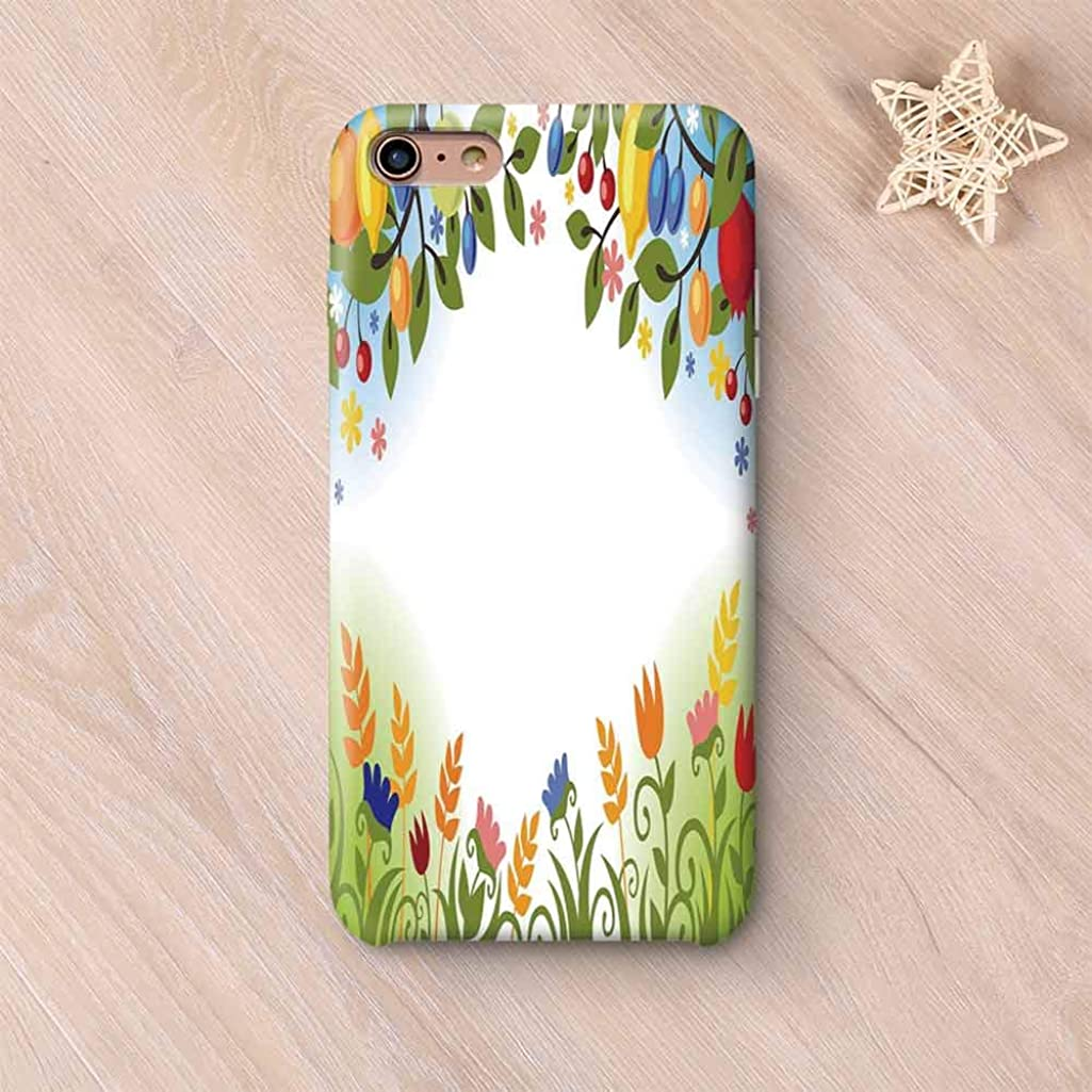 Harvest Wear Resisting Compatible with iPhone Case,Fall Nature Inspired Festive Colorful Frame Fruits and Flowers Berries Swirl Leaves Compatible with iPhone 7/8,iPhone 6 Plus / 6s Plus