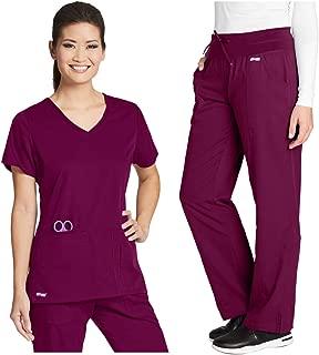 Grey's Anatomy 41423-4276 Women's Active Top - Yoga Pant Medical Scrub Set Wine S-S