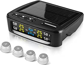 NEWekey Solar TPMS Tire Pressure Monitoring System,Wireless TPMS Solar Power Universal with 4 External Sensors Real-time TPMS System Display 4 Tires' Pressure & Temperature with HD LCD Screen