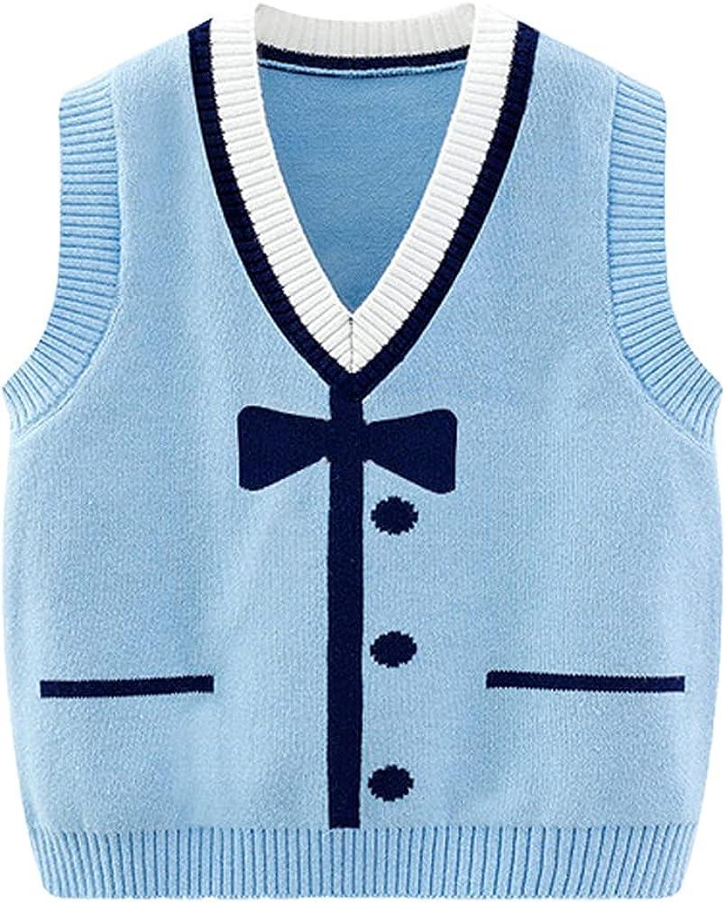 LittleSpring Little Boys Knit Sweater Vest V-Neck School Uniform Sleeveless Pullover
