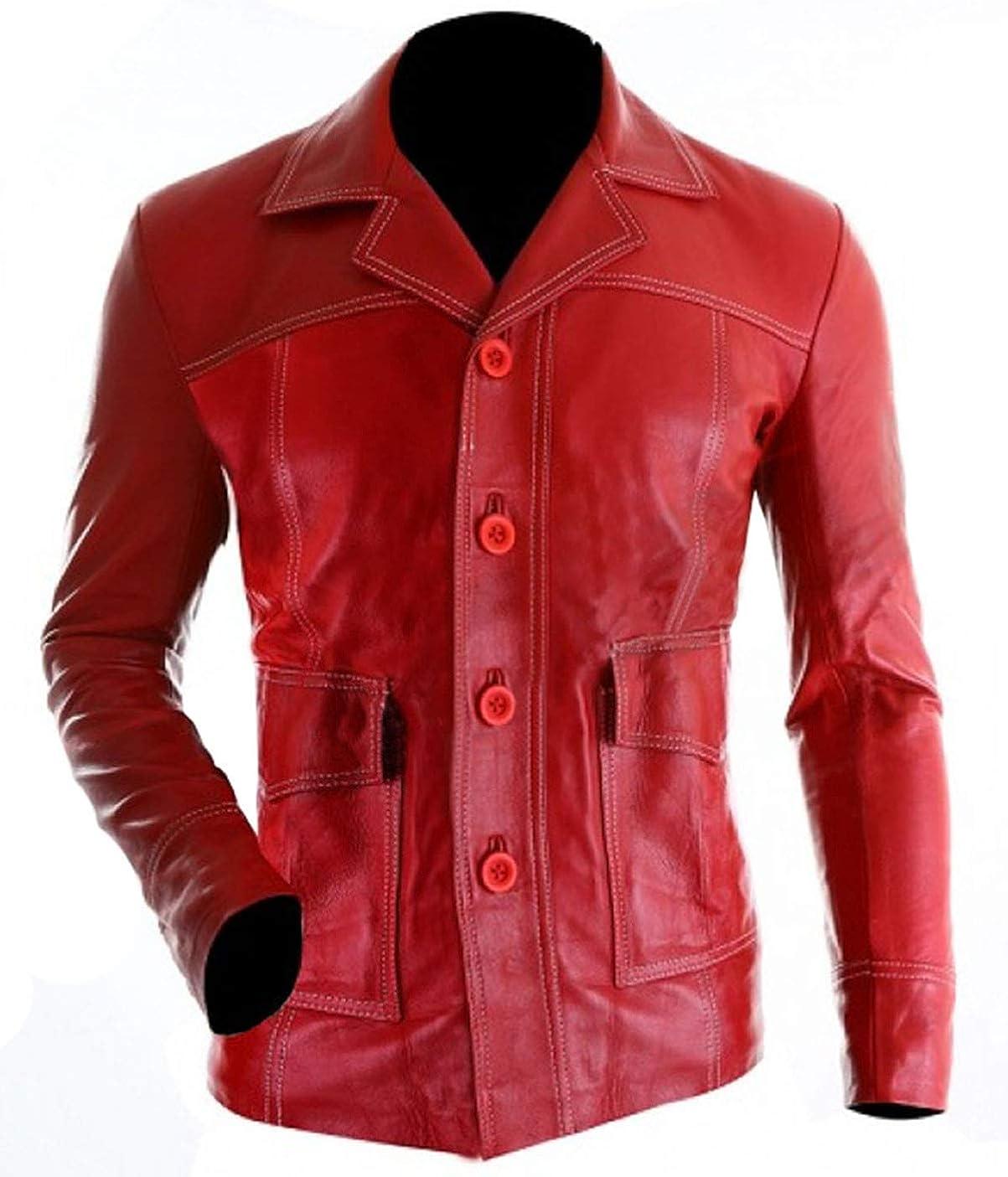 UGFashions Fight Coat Tyler Durden Mayhem Pitt Retro Red Leather Club Jacket