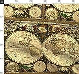 Alt, Welt, Landkarte, Einzelne, Feld, Handwerk Stoffe -