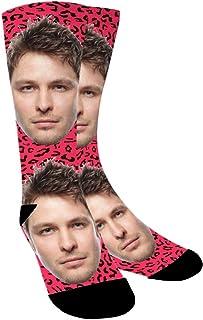 Calcetines Personalizados Con Fotos,Estampado de leopardo,Ponga Su Cara En Calcetines Para Hombres, Mujeres,Unisexo