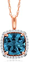 Gem Stone King 10K Rose Gold London Blue Topaz and White Diamond Pendant Necklace 2.05 Ctw Cushion Cut with 18 Inch Chain
