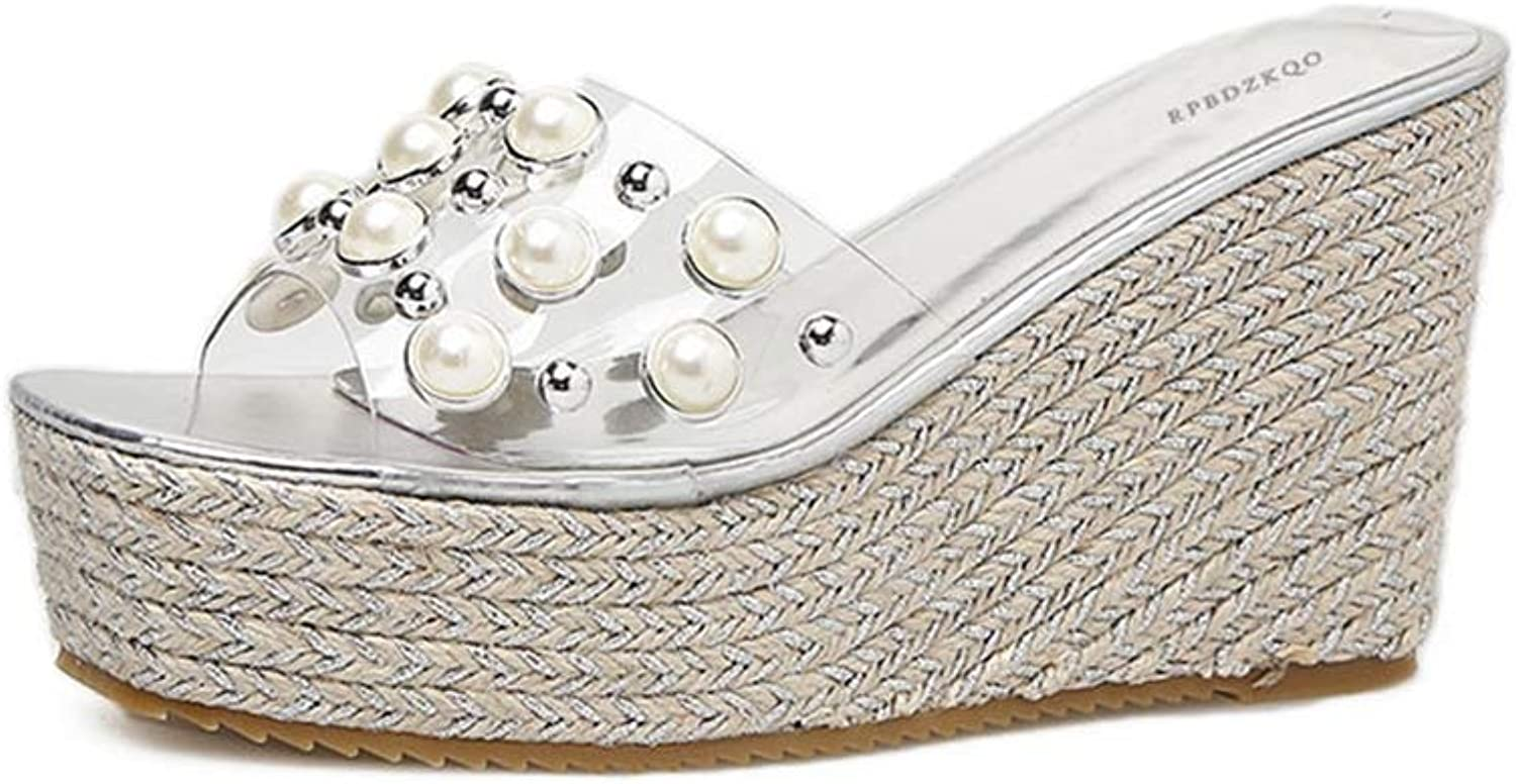 T-JULY Women Slides Platform Slippers Silver Beach Transparent Strap shoes High Heel Sandals Wedge with Pearl Studded