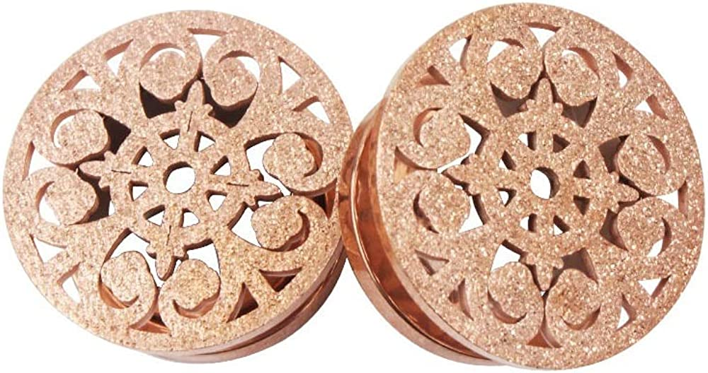 Frosted Filigree Flower Ear Plugs Tunnels Expander Gauges Stretcher Earrings Hollow-Out Screw Stainless Steel Piercing Body Jewelry