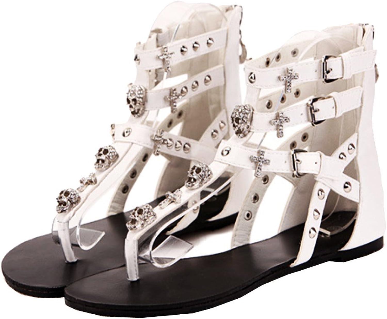Abby 689-2 Womens Fashion Skeleton Cross Flat Flip Flops Buckle Mid Top Zip PU Sandals