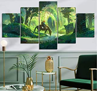HNFSSK Canvas Painting Canvas Hd Prints 5 Pieces Modular Pictures Legend of Zelda Wall Art Painting Home Decor Game Poster for Living Room -Frameless
